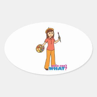 Artist-girl 2 oval sticker