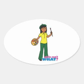 Artist-girl 3 oval sticker