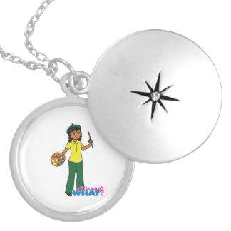 Artist-girl 3 round locket necklace