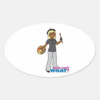 Artist-girl 4 oval sticker