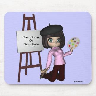 Artist Girl Easel Mousepad