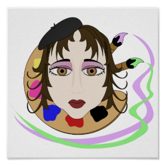 Artist Girl With Brown Eyes Poster