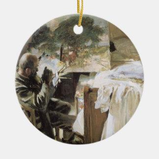 Artist in His Studio by Sargent, Vintage Fine Art Ceramic Ornament
