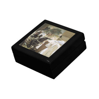 Artist in His Studio by Sargent, Vintage Victorian Jewelry Box