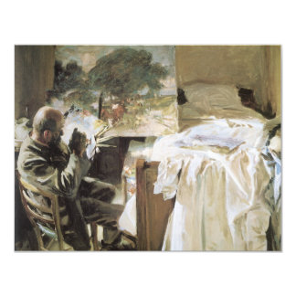 Artist in His Studio by Sargent, Vintage Victorian 4.25x5.5 Paper Invitation Card