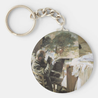 Artist in His Studio by Sargent, Vintage Victorian Keychain