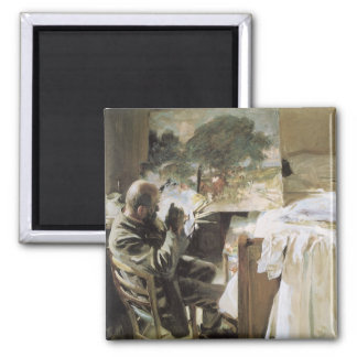 Artist in His Studio by Sargent, Vintage Victorian 2 Inch Square Magnet