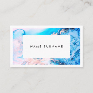 Artist Marble Pink Silver Watercolor Business Card