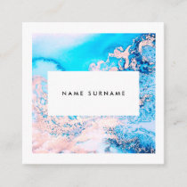 Artist Marble Pink Watercolor Square Business Card