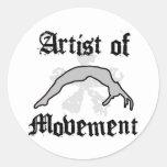 Artist of movement tumbling classic round sticker