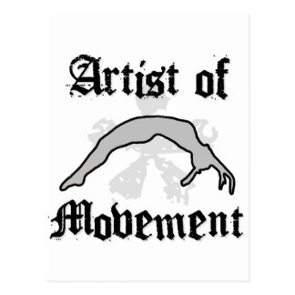 Artist of movement tumbling postcard