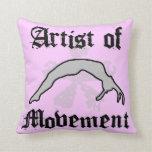 Artist of movement tumbling throw pillow
