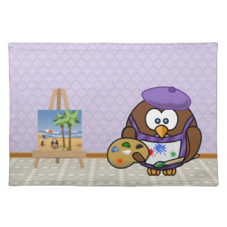 artist owl cloth placemat