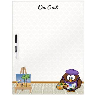 artist owl dry erase board