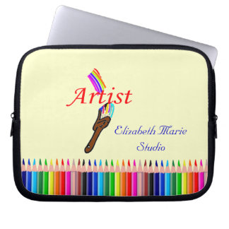 Artist Paint and Colored Pencils Personalize It Laptop Sleeves