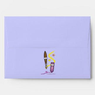 Artist Paintbrush and Crayon Envelope