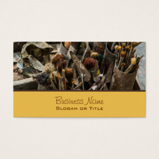 Artist Paintbrushes and Paint in Old Wooden Case Business Card