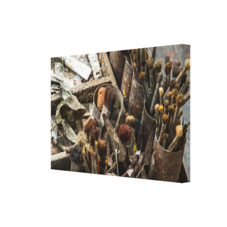 Artist Paintbrushes and Paint in Old Wooden Case Canvas Print