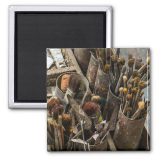 Artist Paintbrushes and Paint in Old Wooden Case Magnet