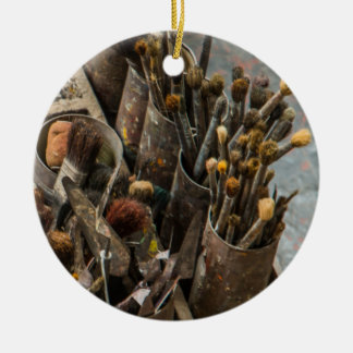 Artist Paintbrushes in Old Rusty Tin Cans Ceramic Ornament