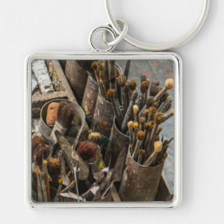 Artist Paintbrushes in Old Rusty Tin Cans Keychain
