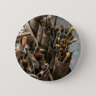 Artist Paintbrushes in Old Rusty Tin Cans Pinback Button