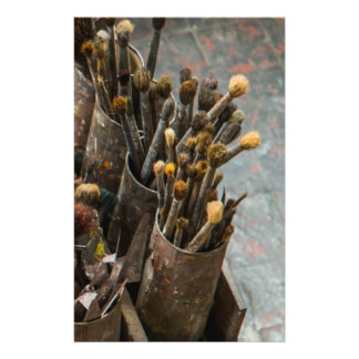 Artist Paintbrushes in Rusty Tin Cans Stationery