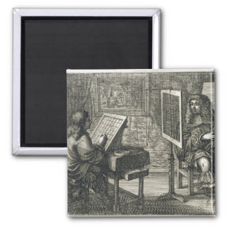Artist painting a portrait over a grid for accurat magnet
