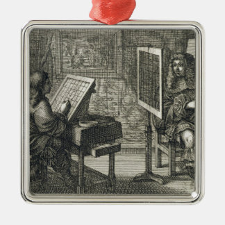 Artist painting a portrait over a grid for accurat metal ornament
