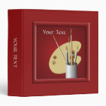 Artist Palette and Brushes Red Binder