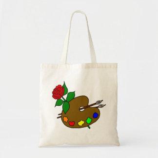 Artist Palette and Rose Tote Bag