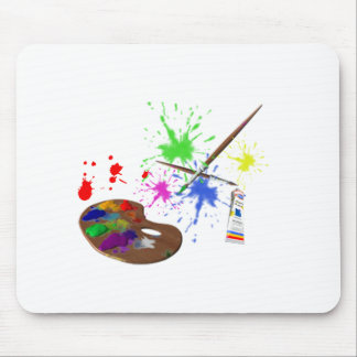 Artist Palette+Colorful Painted Splotches Mouse Pad