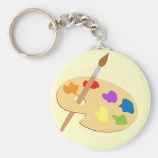 Artist Palette Basic Round Button Keychain