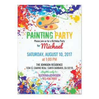 Artist Palette Paint Splashes Birthday Card