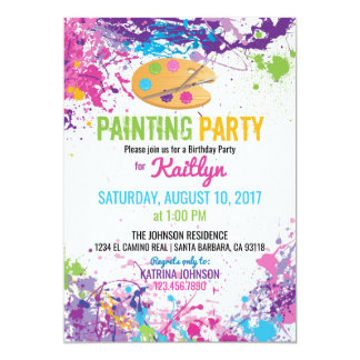 Artist Palette Paint Splashes Birthday Card