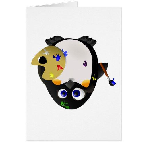 Artist Penguin -- Leftie Greeting Card