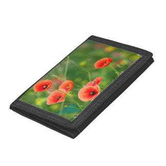 Artist pretty red poppies flowers in green field trifold wallet