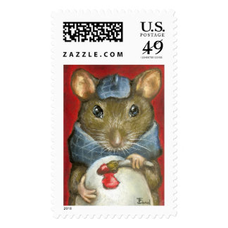 Artist rat postage stamp