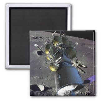 Artist rendition of a new spaceship to the moon 2 inch square magnet