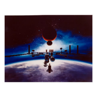 Artist s Conception of Space Station Freedom Poster