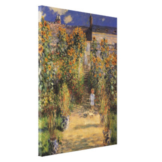 Artist s Garden at Vetheuil by Monet Vintage Art Gallery Wrap Canvas
