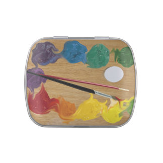 Artist`s palette brushes jelly belly candy tin