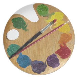 Artist`s palette color wheel dinner plate