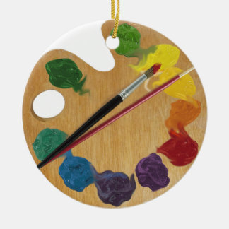 Artist`s palette color wheel Double-Sided ceramic round christmas ornament