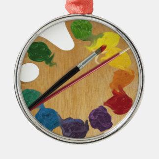 Artist`s palette color wheel round metal christmas ornament
