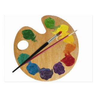 Artist`s palette color wheel postcard