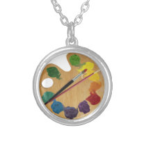 Artist`s palette color wheel silver plated necklace