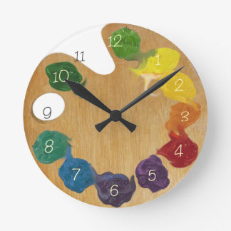 Artist`s palette color wheel with numbers round wall clocks