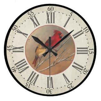 Artist Series Clock - Cardinal Bird Clock