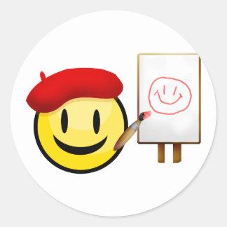 Artist Smiley Classic Round Sticker